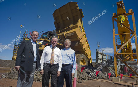 From L-r Tim Netscher Managing Director of Gindalbie Metals Premier of Western Australia Colin Barnett and George Jones Md of Gindalbie Metals at the Karara Mine Opening 09 April 2013 Perth-based Gindalbie Metals Has Pushed Ahead with Its Karara Project in the Mid West Australia Which is the State's First Magnetite Iron Ore Mine Karara Located 200km East of Geraldton is the First Major Magnetite Operation in the Mid West and Will Underpin a Substantial Long-life Iron Ore Business with Robust Economics the Operation Includes Construction and Operation of a Large Open Pit Mine a Processing Plant to Produce Magnetite Concentrate and All Associated Infrastructure Australia --