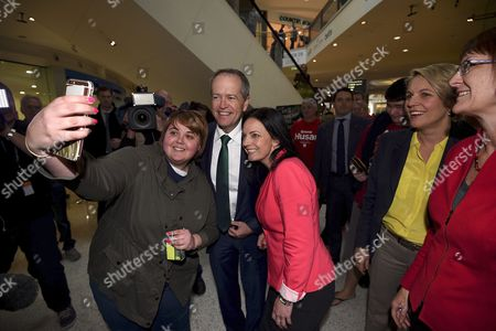 Australian Labor Party Leader Bill Shorten (2-l) Along with Labor Party Candidate For Lindsey Emma Husar (c) Pose For a Picture with a Woman As Labor Party Deputy Leader of the Opposition Tanya Plibersek (2-r) and New Macquarie Labor Mp Susan Templeman (r) Look on During a Visit to Penrith Australia 04 July 2016 with the Likelihood of a Hung Parliament Based on Australian Electoral Commission Data Both Australian Prime Minister Malcolm Turnbull and Australian Labor Party Leader Bill Shorten Are Attempting to Acquire Crossbench Support to Form Minority Government in the Australian Parliament Australia Penrith