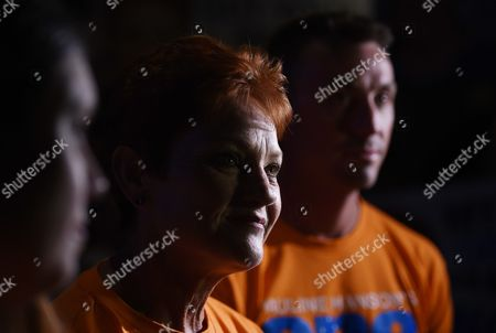 One Nation's Pauline Hanson (c) Flanked by Her Media Advisor James Ashby Talks to the Media During Her Election-night Function in Ipswich West of Brisbane Australia 02 July 2016 Ms Hanson Last Held Office As the Federal Member For Oxley in 1998 Australia Brisbane