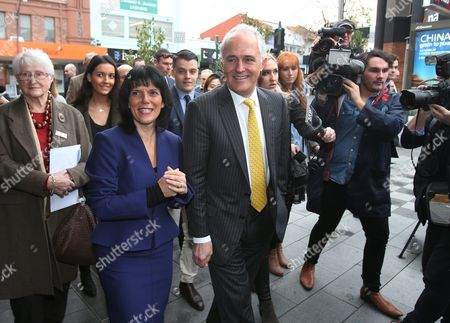 Australian Prime Minister Malcolm Turnbull (c) and Liberal Candidate For the Federal Seat of Chisholm Julia Banks (2-l) on a Street Walk in Oakleigh in Melbourne's Southeastern Suburbs Victoria Australia 08 July 2016 Turnbull who is in Melbourne to Meet with New Liberal Mps and Talk to Independent Cathy Mcgowan Remains on Track to Win As Many As 77 Seats As Vote Counting Continues But the Prime Minister Has Begun Hedging His Bets Holding Talks with Crossbenchers Ahead of Parliament Resuming in August Australia Melbourne