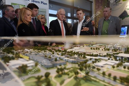 Australian Prime Minister Malcolm Turnbull (c) and the Member For Lindsay Fiona Scott Visit Oran Park Town Display in the Electorate of Macarthur Near Sydney New South Wales Australia 20 June 2016 the Seat of Macarthur is Held by Liberal Mp Russell Matheson by a Margin of 3 3 Percent Australia Sydney