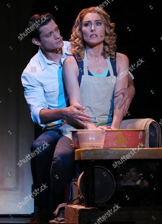 Rob Mills As 'Sam Wheat' (l) and Jemma Rix As 'Molly Jensen' Performing During a Media Call For 'Ghost the Musical' at the Regent Theatre in Melbourne Australia 05 February 2016 the Musical Runs at the Regent Theatre From 05 February Until 13 March Australia Melbourne