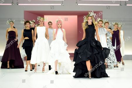 Australian Model Jennifer Hawkins (front) Presents a Creation by Sydney-based Designer Toni Maticevski During the Media Dress Rehearsal For the Myer Spring 16 Fashion Launch in Sydney Australia 23 August 2016 Australia Sydney