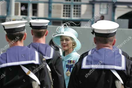 Australia's Governor General Quentin Bryce Inspects the Ceremonial Guards at Garden Island Naval Base For the International Fleet Review in Sydney Australia 05 October 2013 the International Fleet Review Celebrates the Centenary of the First Entry of the Royal Australian Navy Fleet Into Sydney Harbour on 04 October 1913 Australia Sydney
