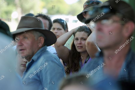 An Upset Resident Reacts As They Listen to Queensland Premier Anna Bligh (not Pictured) Talking As They Wait to Be Evacuated From the Flood Affected Town of St George Australia 05 February 2012 Residents in St George Have Been Advised to Evacuate the Southern Queensland Town Immediately As the Balonne River Continues to Rise Rapidly Australia St. George