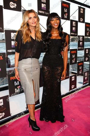 Australian Model Cheyenne Tozzi and British Top Model Naomi Campbell (r) Arrive at the Foxtel Music Channels Summer Launch at the Botanic Gardens in Sydney Australia 03 December 2013 Australia Sydney