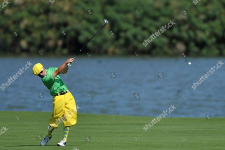 Australian Golfer Aaron Cox Hits a Shot on the 17th Hole During First Round of the Australian Open Golf Championship at the Lakes in Sydney Australia 06 December 2012 Australia Sydney