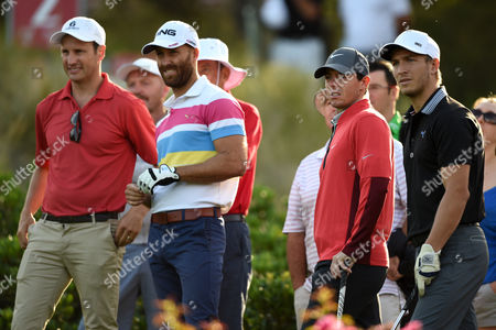 Stock Photo of (l-r) Retired Sydney Swans Player Jude Bolton Current Swans Player Jarrad Mcveigh Northern Ireland's Rory Mcilroy and Swans Player Kieren Jack Prepare to Tee Off on the Second Hole During the Pro-am For the Australian Open Golf Championship at the Australian Golf Club in Sydney Australia 26 November 2014 Australia Sydney
