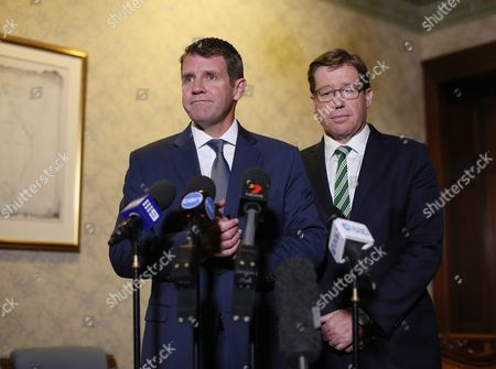 New South Wales (nsw) Premier Mike Baird (l) and Deputy Premier Troy Grant (2-l) Attend a Press Conference Concerning the Overnight Vote to Ban Greyhound Racing in Nsw at the State Parliament in Sydney New South Wales 24 August 2016 Australia Sydney