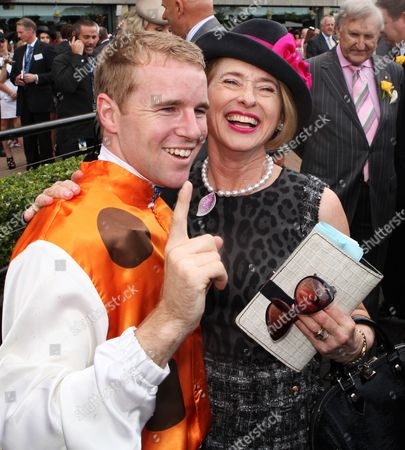 Jockey Tommy Berry (l) Celebrates with Racehorse Trainer Gai Waterhouse After Their Winning Race 7 the Golden Slipper 2013 at Rosehill Gardens Racecuorse in Sydney Saturday April 06 2013 with a Prize Money of Aud 3 5 Million (approx 2 824000) the Golden Slipper is the World's Richest Race For Two-year-old Thoroughbreds Australia Sydney