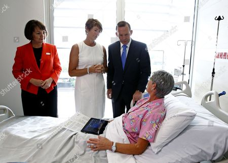 Stock Picture of Australian Prime Minister Tony Abbott (r Back) and His Wife Margie Abbott (2-l) Speak with Breast Cancer Patient Lyn Harvey at the Launch of the Chris O'brien Lifehouse Hospital in Sydney Australia 13 February 2015 the First Dedicated Cancer Hospital in New South Wales (nsw) Has Been Officially Opened by Abbott and Nsw Premier Mike Baird Australia Sydney