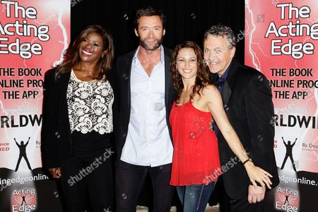 (l-r) Australian Vocalist Marcia Hines Australian Actor Hugh Jackman Australian Actress Georgie Parker and Co-founder and Creative Director of Actors Centre Australia Dean Carey Pose For a Photo on the Red Carpet During the Acting Edge Book Launch at the Actors Centre Australia Theatre in Sydney Australia 04 November 2012 Australia Sydney