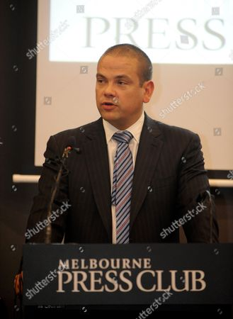 Stock Picture of Lachlan Murdoch Gives a Speech at the Melbourne Press Club where His Grand-father Sir Keith Murdoch (1885 1952) was Inducted Into the Victorian Media Hall of Fame Australia 06 December 2012 on 05 December Dame Elizabeth Murdoch Wife of the Late Sir Keith Died at Her Home Aged 103 Australia Melbourne