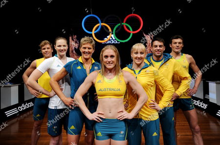 Australian Athletes (l-r) Athletic's Henry Frayne Swimmer Cate Campbell Volleyballer Natalie Cook Hurdler Sally Pearson Swimmer Jessicah Schipper Athletic's Mitchell Watts and Athletic's Craig Mottram Model the New Australian Team Uniform For the London 2012 Olympic Games at a Launch Event in Sydney Australia 28 March 2012 Australia Sydney
