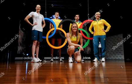 Australian Athlete's (l-r) Swimmer Cate Campbell Athletic's Craig Mottram Hurdler Sally Pearson Long Jumper Mitchell Watts and Swimmer Jessicah Schipper Model the New Australian Team Uniform For the London 2012 Olympic Games at a Launch Event in Sydney Australia 28 March 2012 Australia Sydney