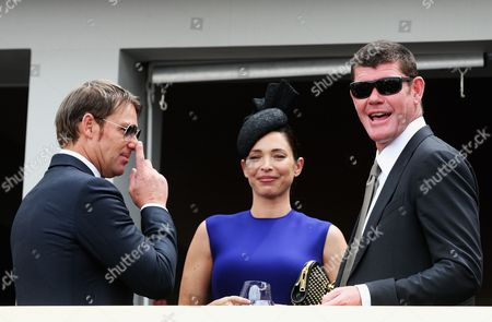 Former Australian Cricketer Shane Warne (l) with James Packer (r) and Wife Erica Packer (c) at the Crown Marquee During the Melbourne Cup at Flemington Racetrack in Melbourne Australia 06 November 2012 the Six Million Australian Dollar (6 2 Million Us Dollar 4 86 Million Euro) Melbourne Cup is the Highlight of the Spring Carnival Australia Melbourne