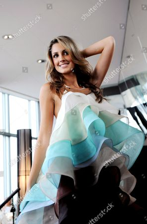 Miss Universe Australia 2008 Laura Dundovic Presents a Dress For the Australian National Costume Section of the Miss Universe Pagent Designed by Jayson Brunsdon in Sydney Australia 17 June 2008 Dundovic Will Wear the Dress at the Miss Universe Pageant on July 14 in Vietnam Australia Sydney
