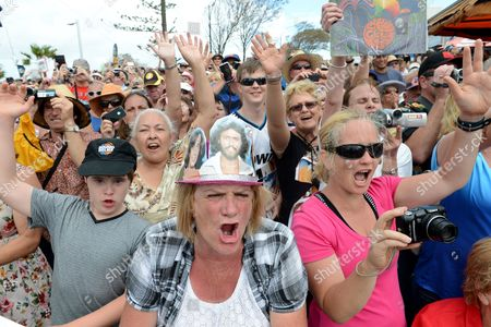 Fans React to the Arrival of Australian Musician and Singer Barry Gibb (not Pictured) at the Unveiling of a Statue of Bee Gees Band Members Barry Robin and Maurice Gibb During the Official Opening of Bee Gee Way in Redcliffe Northern Brisbane Australia 14 February 2013 Barry Gibb Has Revealed He and His Brothers Could Just As Easily Turned to a Life of Crime Rather Than Taking the Path That Ultimately Led Them to World Wide Fame and Fortune Australia Brisbane