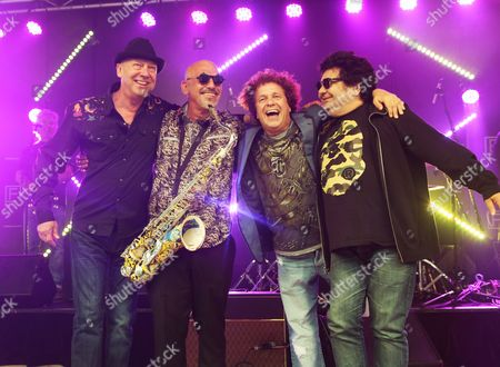 Stock Image of Rock Legends (l-r) Russell Morris Joe Camilleri Leo Sayer Joe Camilleri and Richard Clapton at the Launch of the Apia Good Times Tour in Federation Square Melbourne Australia 26 February 2014 Australia Melbourne