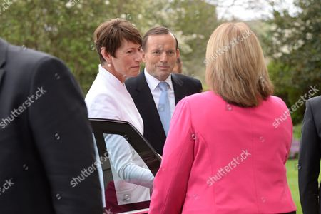Prime Minister-elect of Australia Tony Abbott (c) and His Wife Margie Arrive For His Swearing in Ceremony As Prime Minister by Governor-general Quentin Bryce at Government House in Canberra Australia 18 Sepember 2013 Australia Canberra