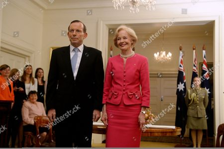Tony Abbott (l) is Sworn in As Australian Prime Minister by Governor-general Quentin Bryce at Government House in Canberra Australia 18 Sepember 2013 Australia Canberra