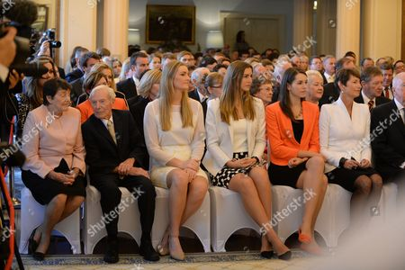 (l-r) the Parents of Tony Abbott Fay and Richard Abbott Sit Alongside His Daughters Bridget Frances Louise and His Wife Margie During His Swearing in Ceremony As Australian Prime Minister by Governor-general Quentin Bryce at Government House in Canberra Australia 18 Sepember 2013 Australia Canberra
