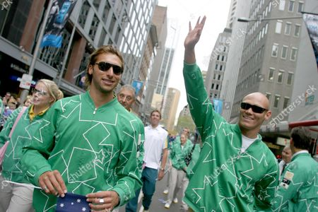 Olympic Swimmers Ian Thorpe (left) and Michael Klim During the National Welcome Home Parade in Sydney 15 September 2004 Members of Australia's Athens Olympic Team Came From Around Australia to Attend the Parade Australia Sydney