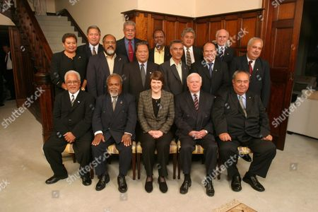 Leaders From the Pacific Region Meeting at the Pacific Islands Forum in Auckland on Tuesday 06 April 2004: (front Left to Right) Premier Young Vivian Niue; Prime Minister Rt Hon Sir Michael Somare Papua New Guinea; Prime Minister Rt Hon Helen Clark New Zealand; Secretary General Pacific Islands Forum Secretariat Greg Urwin; Acting Prime Minister Hon William Clive Edwards Tonga (second Row Left to Right) Vice President He Sandra Pierantozzi Palau; Prime Minister Hon Edward Natapei Vanuatu; President He Kessai Note Republic of the Marshall Islands; President He Anote Tong Republic of Kiribati; Prime Minister Hon Dr Robert Woonton Cook Islands; Vice President Redley Killion Federated States of Micronesia (back Row Left to Right) Prime Minister Hon Saufatu Sopoanga Tuvalu; Prime Minister Hon Laisenia Qarase Republic of Fiji Islands; Prime Minister Sir Allan Kemakeza Solomon Islands; Prime Minister Hon Tuilaepa Sailele Malielegaoi Samoa Prime Minister Hon John Howard Australia New Zealand Auckland