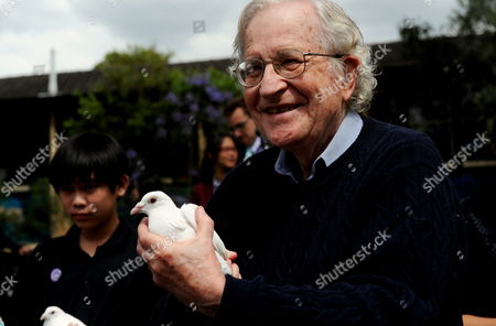 American Commentator Philosopher and Activist Noam Chomsky Holds a White Dove Before Releasing It Together with Students From Cabramatta High School During a Ceremony in Cabramatta a Suburb of Sydney Australia 04 November 2011 Professor Chomsky Received the 2012 Sydney Peace Prize at a Ceremony on 03 November Australia Sydney