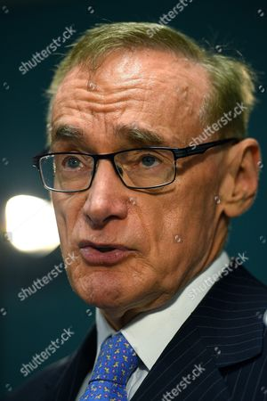 Stock Picture of Former Australian Foreign Minister Bob Carr Speaks to the Media in Sydney Australia 16 February 2016 Carr Said He Would Like to See a Slowdown in Population As Unrealistic Population Growth is Putting Pressure Housing and Urban Congestion According to the Australian Bureau of Statistics the Number of People in Australia Passed the 24 Million Mark on 16 February Australia Sydney