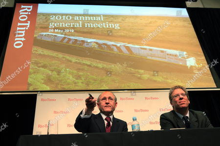 Multinational Mining and Resources Group Rio Tinto' Chairman Jan Du Plessis (c) and Ceo Tom Albanese (r) Hold a Press Conference After the 2010 Rio Tinto Annual General Meeting at Melbourne Convention Centre Australia on 26 May 2010 Albanese Used the Company's Agm on 26 May to Launch Another Attack on the Federal Government's Proposed Super-profits Tax Saying It is the Number One Sovereign Risk the Company Faces Anywhere in the World Australia Melbourne