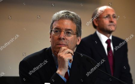 Stock Photo of Rio Tinto's Ceo Tom Albanese (l) and Chairman Jan Du Plessis During the Company's Annual General Meeting (agm) in Brisbane Australia 10 May 2012 Rio Tinto is Reportedly Reviewing Its Coal Expansion Plans in Australia As It Faces Soaring Capital Costs Australia Brisbane