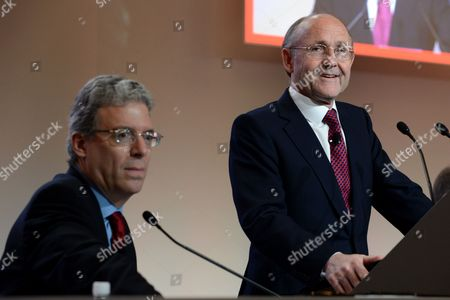 Rio Tinto's Ceo Tom Albanese (l) and Chairman Jan Du Plessis During the Company's Annual General Meeting (agm) in Brisbane Australia 10 May 2012 Rio Tinto is Reportedly Reviewing Its Coal Expansion Plans in Australia As It Faces Soaring Capital Costs Australia Brisbane