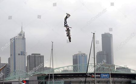 Australian Motorcycle Long-jumper Robby Maddison Performs a Trick Moments Before He Crashes at Waterfront City Docklands in Melbourne Australia 06 March 2008 Maddison who Walked Away From the Crash with Minor Injuries is in Australia Preparing to Break His Own World Record For the Longest Dsitance Jumped on a Motorbike Australia Melbourne