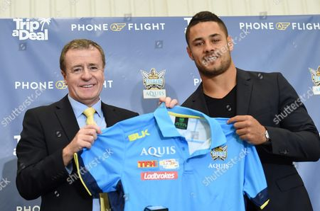 Former Parramatta Eels Former Parramatta Eels National Rugby League (nrl) Player Jarryd Hayne (r) and Titans Ceo Graham Annesley Pose at a Press Conference on the Gold Coast Queensland Australia 03 August 2016 the Code-hopper Has Signed a Two-year Deal with the Gold Coast Titans Nrl Club Australia Gold Coast