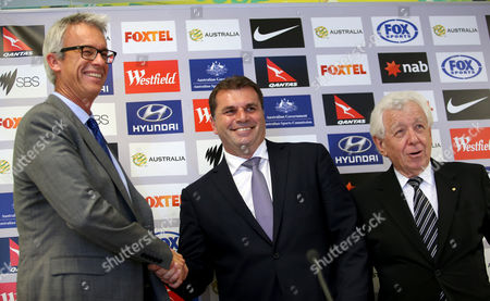 (l-r) Football Federation Australia (ffa) Ceo David Gallop New Socceroos Head Coach Ange Postecoglou (c) and Ffa Chairman Frank Lowy at a Press Conference in Sydney Australia 23 October 2013 the (ffa) Announced That Ange Postecoglou Has Been Appointed New Head Coach of the Socceroos Australia Sydney