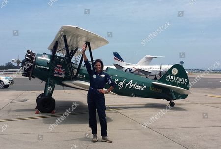 British Pilot Tracey Curtis-taylor Reacts After Landing Her Restored 1942 Boeing Stearman Spirit of Artemis at Sydney International Airport Australia 09 January 2016 Flying Three Months Over 23 Countries From Great Britain Australia Sydney