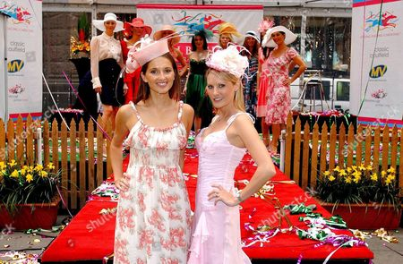 Kate Waterhouse and Spring Racing Carnival Ambassador Clare Hawkes at the Launch of the Spring Racing Carnival in Melbourne at Sydney's Martin Place Tuesday 26 July 2005 Australia Sydney