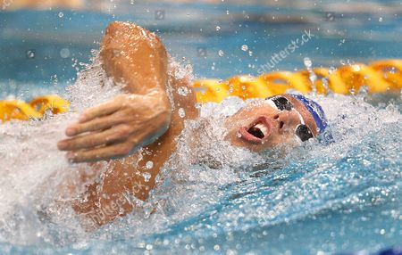 Australian Swimmer Grant Hackett Takes a Breath During the Mens 400m Freestyle Race at the Australian Swimming Championships at the Olympic Aquatic Centre in Sydney Australia 03 April 2015 Australia Sydney