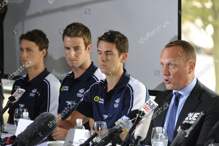 Stock Picture of Members of the Australian Olympic Men's 4 X 100-metre Freestyle Relay Team (l-r) James Mcevoy James Magnussen and Eamon Sullivan Look on As Daniel Kowalski (r) Speaks at a News Conference in Sydney Australia 22 February 2013 the Swimmers Were Singled out in 'The Bluestone Report' on Australia's Swimming Team's Poor Performance at the 2012 London Olympics Australia Sydney