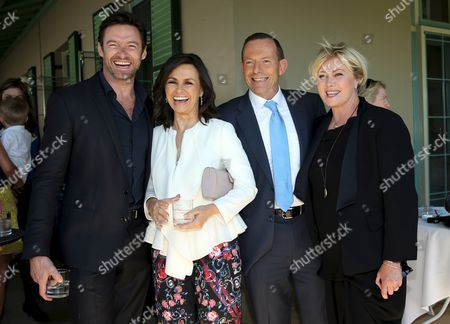 Australian Prime Minister Tony Abbott (2-r) Poses For Pictures with Australian Actors Deborra-lee Furness (r) Hugh Jackman (l) and Australian Journalist Lisa Wilkinson (2-l) As He Hosts a Morning Tea Party at Kirribilli House in Sydney Australia 19 December 2013 the Invitation was Part of a National Adoption Awareness Week Australia Sydney