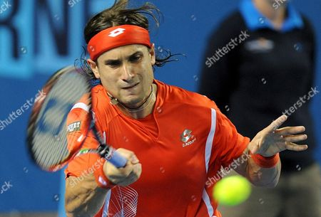 David Ferrer of Spain Returns to Vincent Spadea of the Usa During Their Third Round Match at the Australian Open Tennis Tournament in Melbourne Australia 20 January 2008 Ferrer Won the Match 6-3 6-3 6-2 Australia Melbourne