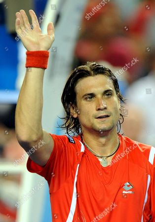 David Ferrer of Spain Celebrates His Win Over Vincent Spadea of the Usa During Their Third Round Match at the Australian Open Tennis Tournament in Melbourne Australia 20 January 2008 Ferrer Won the Match 6-3 6-3 6-2 Australia Melbourne