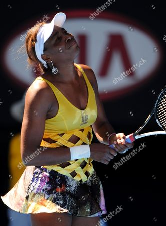 Venus Williams of the Us Reacts to Losing a Point to Sandra Zahlavova of the Czech Repulic at Their Second Round Match at the Australian Open Tennis Tournament in Melbourne Australia on 19 January 2011 Australia Melbourne