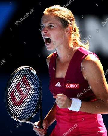 Sandra Zahlavova of the Czech Repulic Celebrates a Point Against Venus Williams of the Us at Their Second Round Match at the Australian Open Tennis Tournament in Melbourne Australia on 19 January 2011 Australia Melbourne