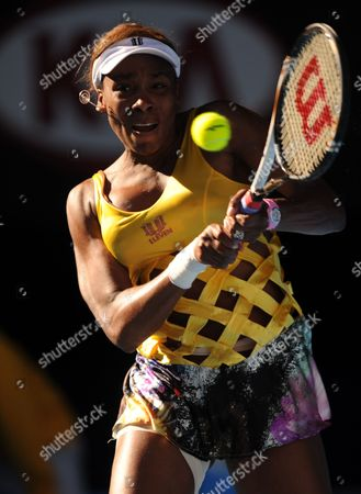 Venus Williams of the Us Celebrates Returns to Sandra Zahlavova of the Czech Repulic at Their Second Round Match at the Australian Open Tennis Tournament in Melbourne Australia 19 January 2011 Australia Melbourne