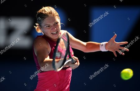 Sandra Zahlavova of the Czech Repulic Returns to Venus Williams of the Us at Their Second Round Match at the Australian Open Tennis Tournament in Melbourne Australia on 19 January 2011 Australia Melbourne