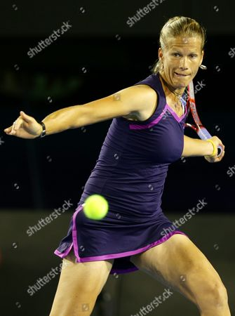 Melinda Czink of Hungary in Action During Her Round One Match Against Ana Ivanovic of Serbia at the Australian Open Tennis Tournament in Melbourne Australia 14 January 2013 Australia Melbourne