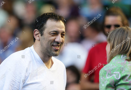 Former La Lakers Player Vlade Divac Watches the Match Between Novak Djokovic of Serbia and Andy Murray of Great Britain in the Men's Singles Final of the Australian Open Tennis Tournament in Melbourne Australia 27 January 2013 Australia Melbourne