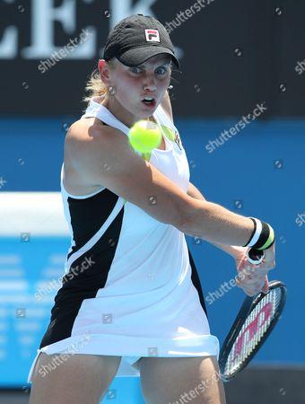 Australia's Jelena Dokic Returns to Russia's Anna Chakvetadze in Their First Round Match at the Australian Open Tennis Tournament in Melbourne Australia 17 January 2012 Australia Melbourne